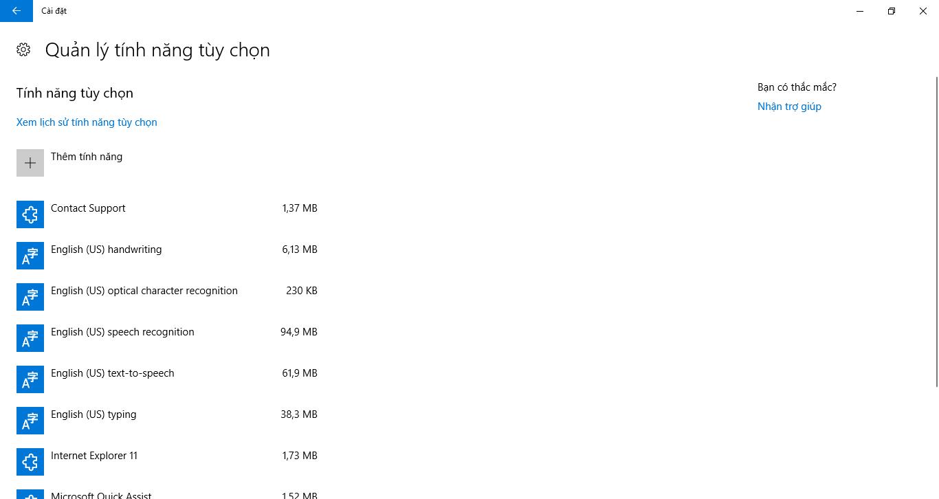 Gỡ bỏ tính năng mặc định trong Windows 10