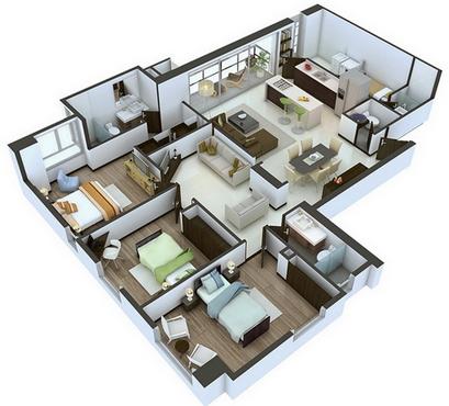 desain denah rumah minimalis moderen 3 kamar tidur 3
