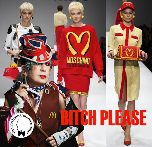 Fashion Meme: Jeremy Scott for Moschino FW 2014 collection inspired to McDonald's logo VS Anna Piaggi wearing an original McDonald's vest in a portrait by Marco Glaviano in 2010