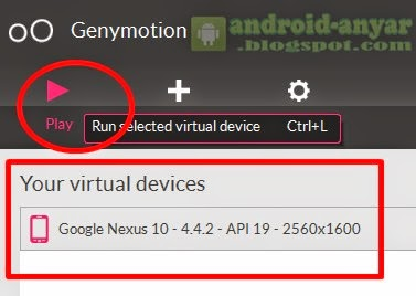 Menjalankan Android Virtual Device (AVD) Genymotion