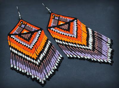 купить этно серьги из бисера  яркие большие этнические сережки ручной работы