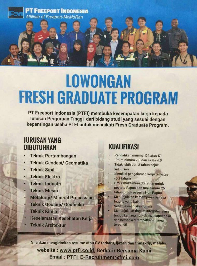Lowongan Kerja Pt Freeport Indonesia S1 Teknik Pertambangan Universitas Mulawarman