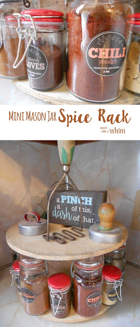 Mason Jar Spice Rack on an Old Spool | Denise on a Whim