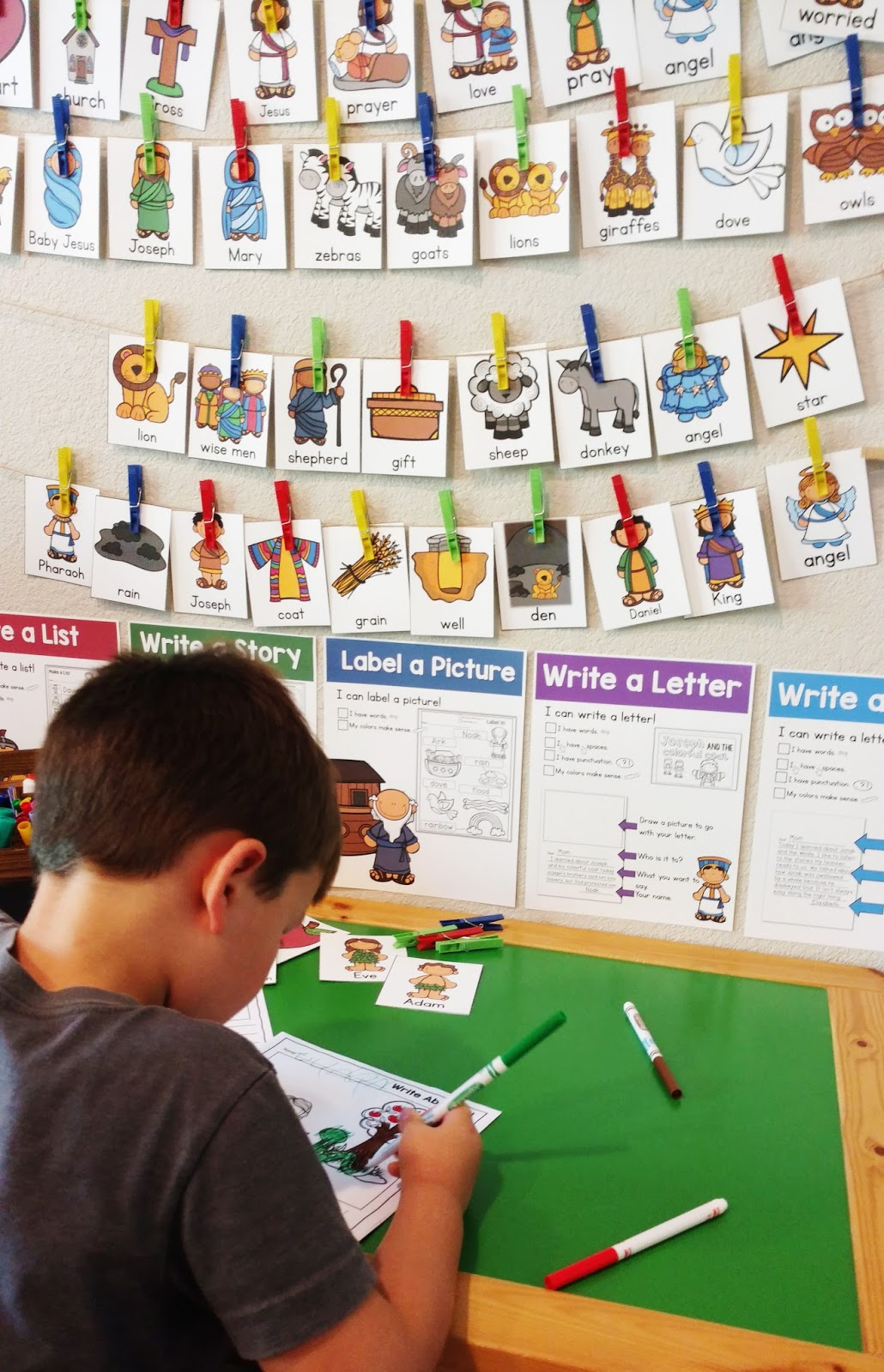 bible themed writing stations the kinderhearted classroom