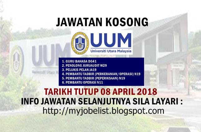 Jawatan Kosong Universiti Utara Malaysia (UUM) April 2018