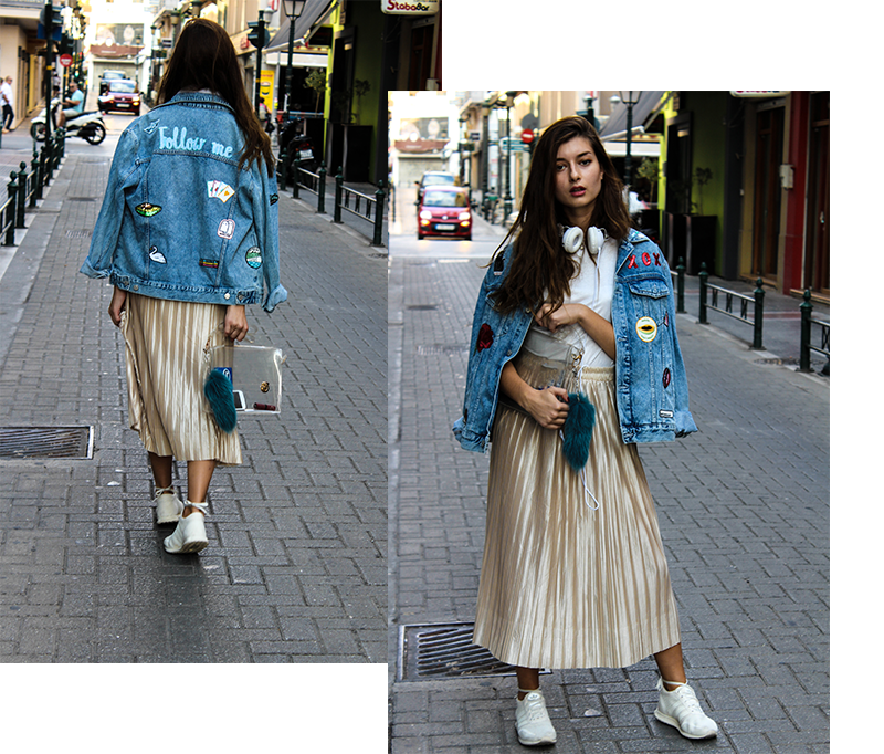 f21930e2952 The key pieces of this look is definitely my sneakers and my denim jacket  which is decorated with patches.Automatically the look turns into a cozy ...