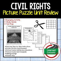 American History Picture Puzzles are great for TEST PREP, UNIT REVIEWS, TEST REVIEWS, and STUDY GUIDES, Civil Rights Movement