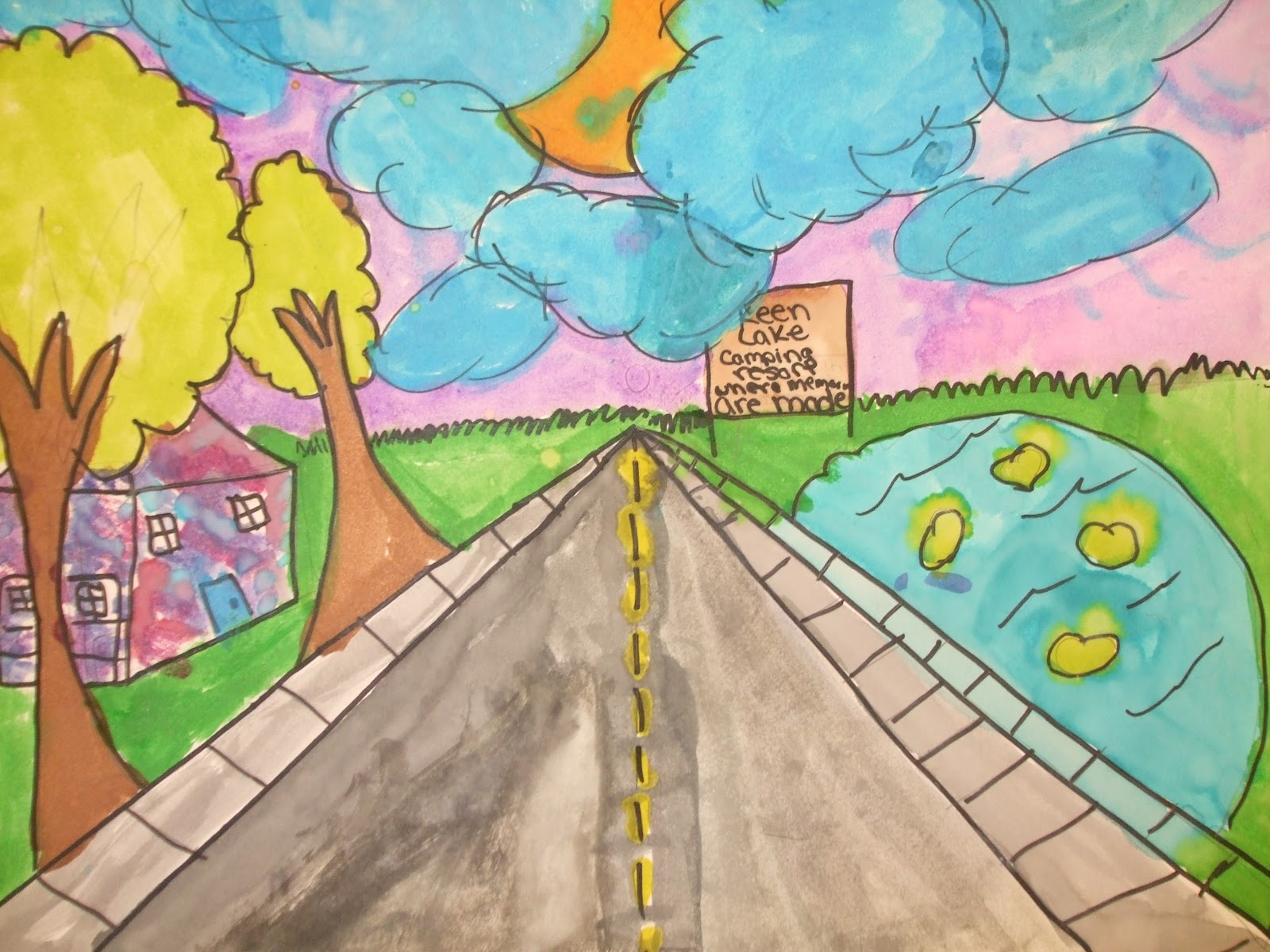Rainbow Skies & Dragonflies: 1 Point Perspective - 5th Grade