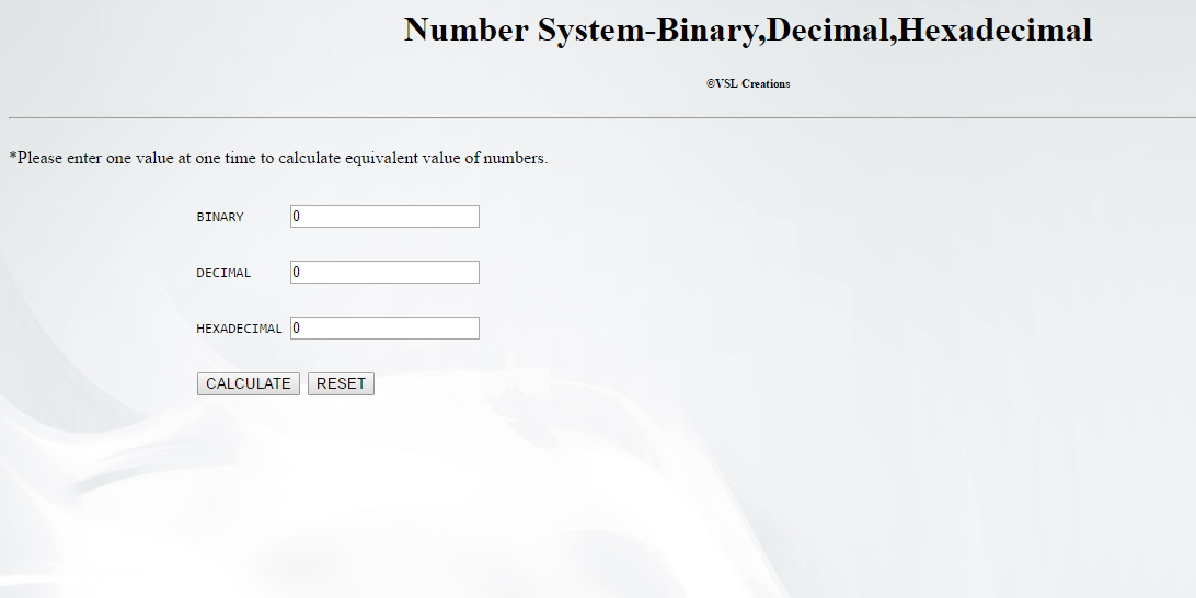 how to create simple number system calculator binary decimal  how to create simple number system calculator binary decimal hexadecimal using javascript html script form
