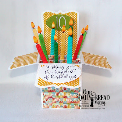 Our Daily Bread Designs Stamp Set: Today and Everyday, Custom Dies: Surprise Box, Birthday Candles, Numbers, Pierced Ovals, Paper Collections: Birthday Bash, Birthday Brights