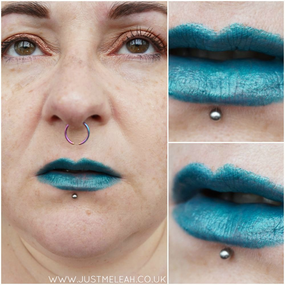 NICKA K NY ULTRA SLICK LIPSTICK IN AMAZING TEAL BLUE SWATCHES