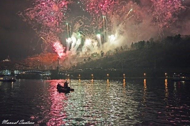 Praga, fuochi d'artificio del 1 gennaio