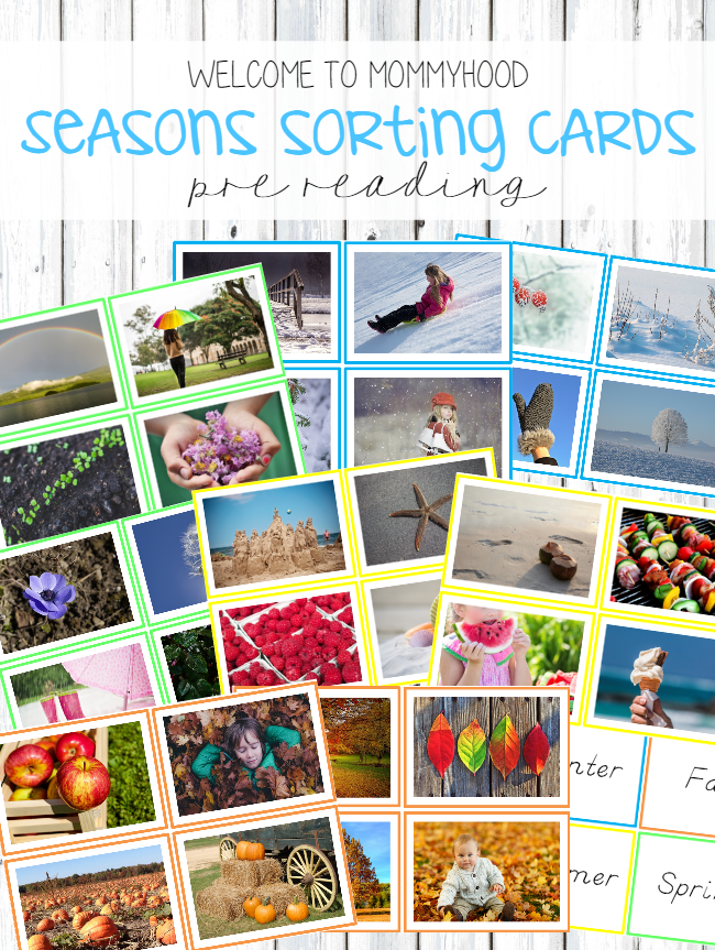 Montessori Inspired Seasons Classification Cards for prereading by Welcome to Mommyhood #montessori, #montessoriactivities, #preschoolactivities, #Preschool, #kindergarten, #montessoriprintables