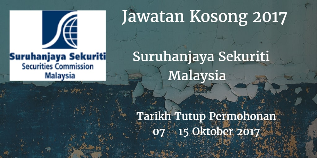 Jawatan Kosong Suruhanjaya Sekuriti Malaysia 07 - 15 Oktober 2017