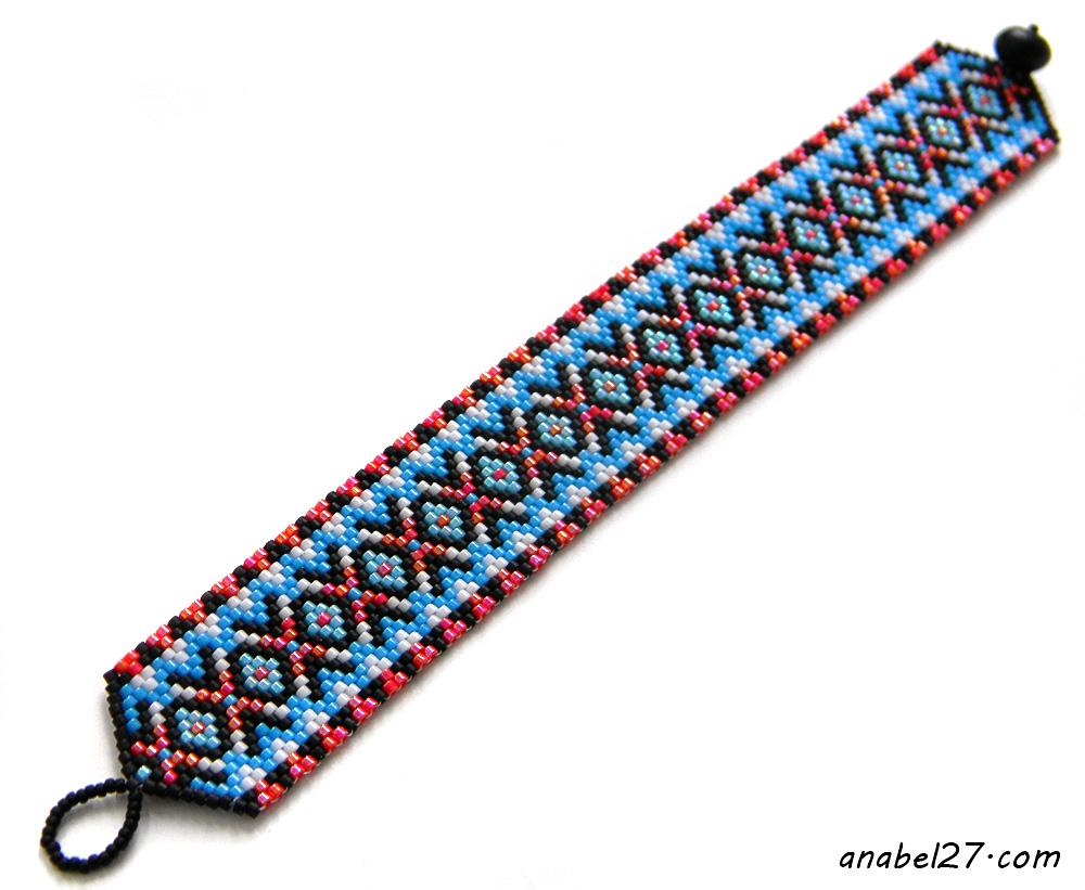 купить узкий яркий браслет из бисера
