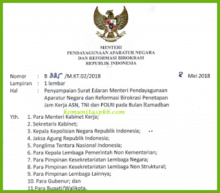 Surat Edaran Penetapan Jam Kerja ASN, TNI, dan Polri di Bulan Ramadhan Tahun 2018