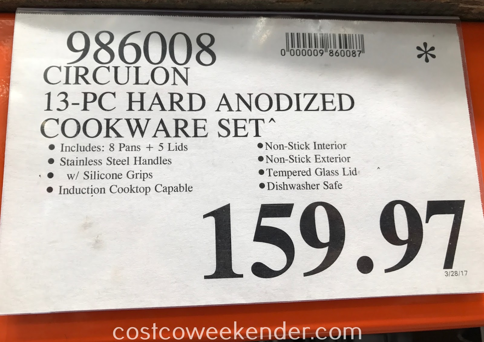 Deal for the Circulon 13 piece Hard-Anodized Cookware Set at Costco
