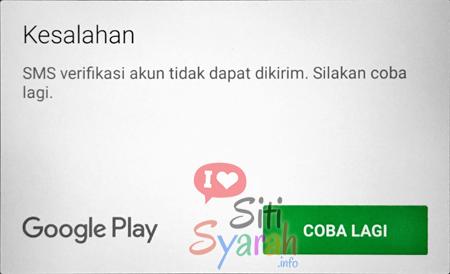 Google Play kesalahan SMS Verifikasi akun tidak dapat dikirim