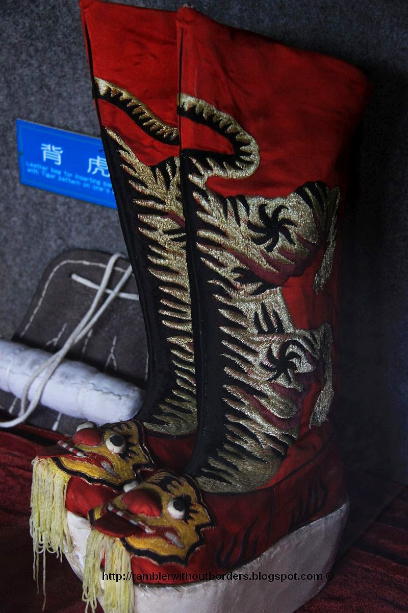 Theatrical boots for the Kunqu Opera, Zhouzhuang, Jiangsu, China
