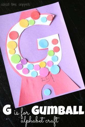 Have fun learning the alphabet by making letter crafts; such a cute letter g craft for your toddler or preschooler to assemble... G is for Gumball(s)!