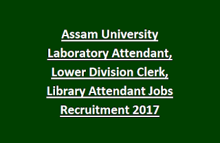 Assam University Laboratory Attendant, Lower Division Clerk, Library Attendant Jobs Recruitment 2017