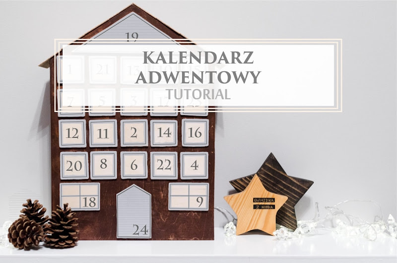 drewniany kalendarz adwentowy w kształcie domku