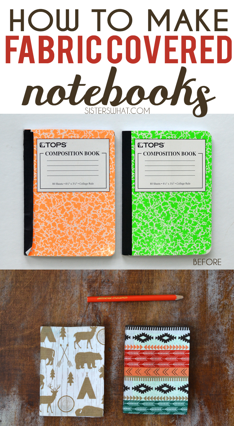 Fabric Composition Book Cover Tutorial ~ How to cover mini notebooks with fabric sisters what