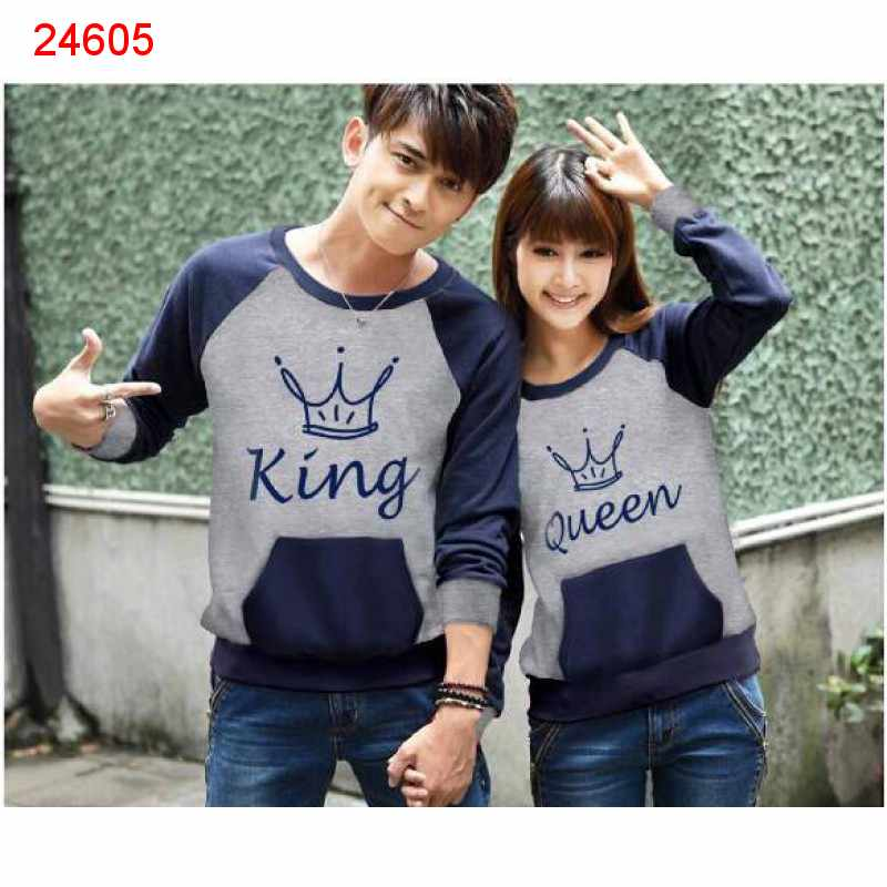 Jual Sweater Couple Sweater King Pocket Misty Navy - 24605