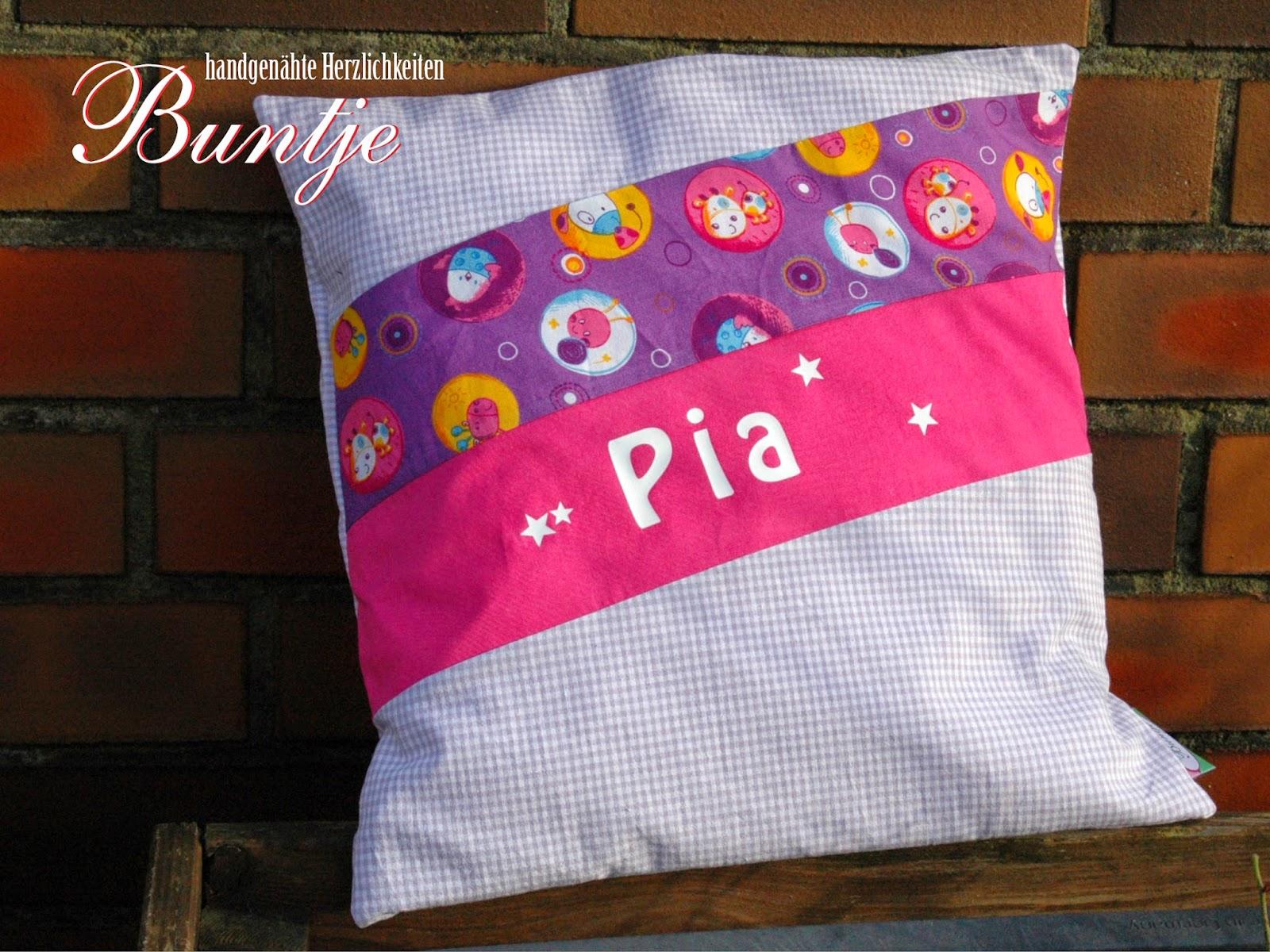 Namenskissen Kissen Name Geschenk Geburt Taufe Geburtstag Mädchen lila pink rosa Tiere Pia Stern Buntje nähen handmade