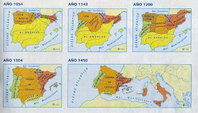 Resultat d'imatges de evolucion de los reinos cristianos peninsula iberica