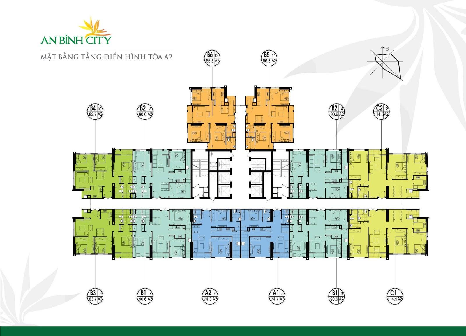 Thiết kế mặt bằng căn hộ tòa A2 dự án chung cư An bình City