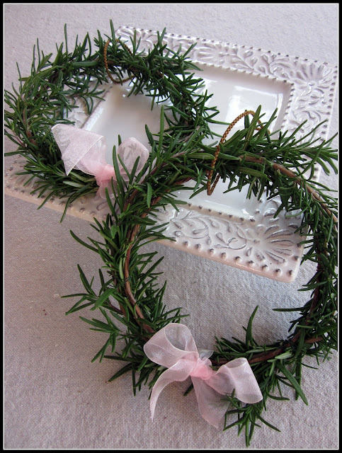 Tiny rosemary wreaths from the garden