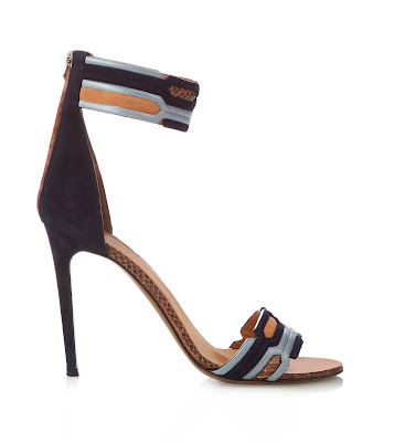 Peter Pilotto Geometric Ankle Strap Suede Sandals in black