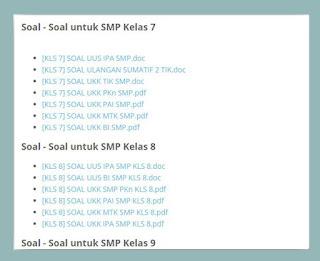 Download Kumpulan Latihan Soal UAS,UKK,UN  SMP Kelas 7 8 9