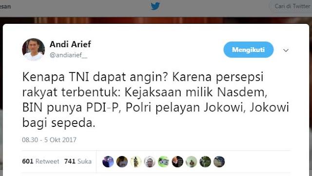 Kenapa TNI Dapat Simpatik? Andi Arief: Karena Persepsi Rakyat Terbentuk, Polri Pelayan Jokowi