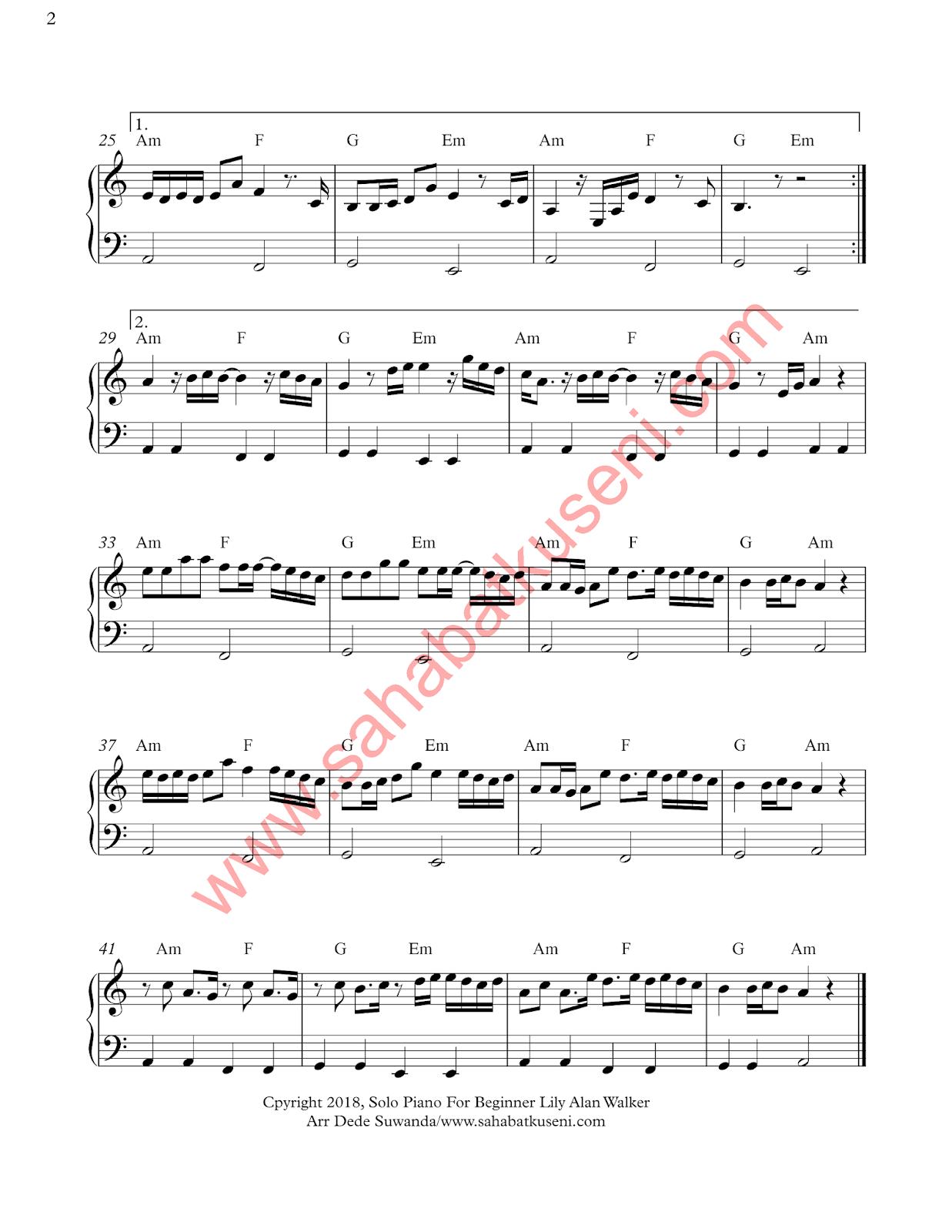 not balok not angka lagu lily piano termudah untuk pemula