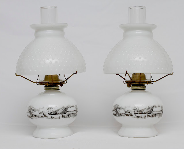 Pair of Vintage Currier & Ives Milk Glass Kerosene Lamp ...
