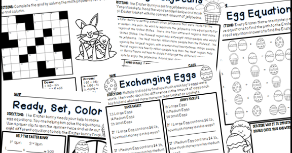 Kelly McCown: Easter & Spring Middle School Math Activities