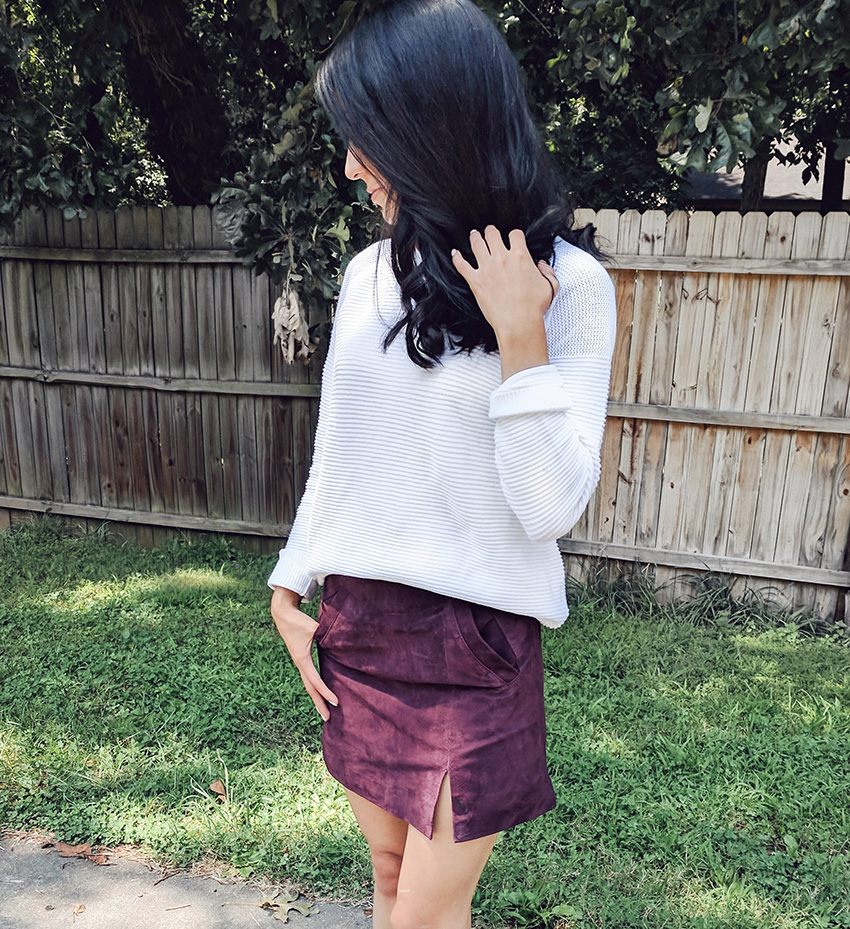 blanknyc suede skirt, forever 21 textured pullover