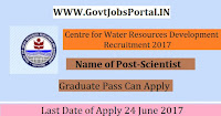 Centre for Water Resources Development Recruitment 2017– Scientist
