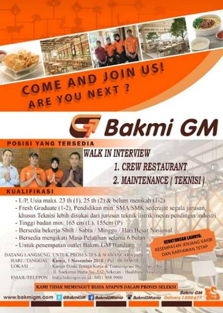 Walk In Interview Bakmi GM Bandung