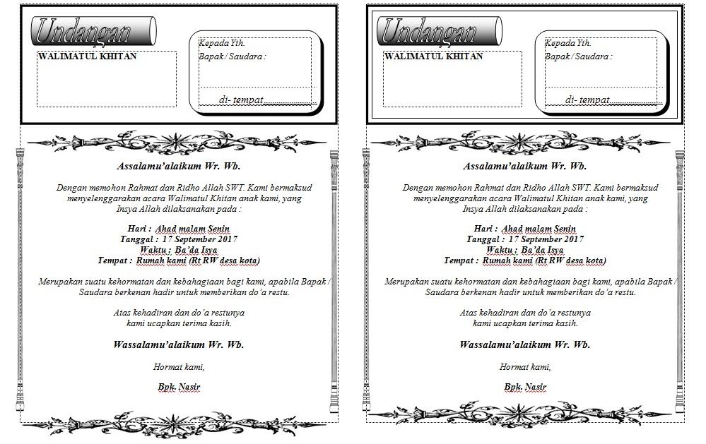 Contoh Undangan Khitan Ms Word Terbaru Wafariq Blog