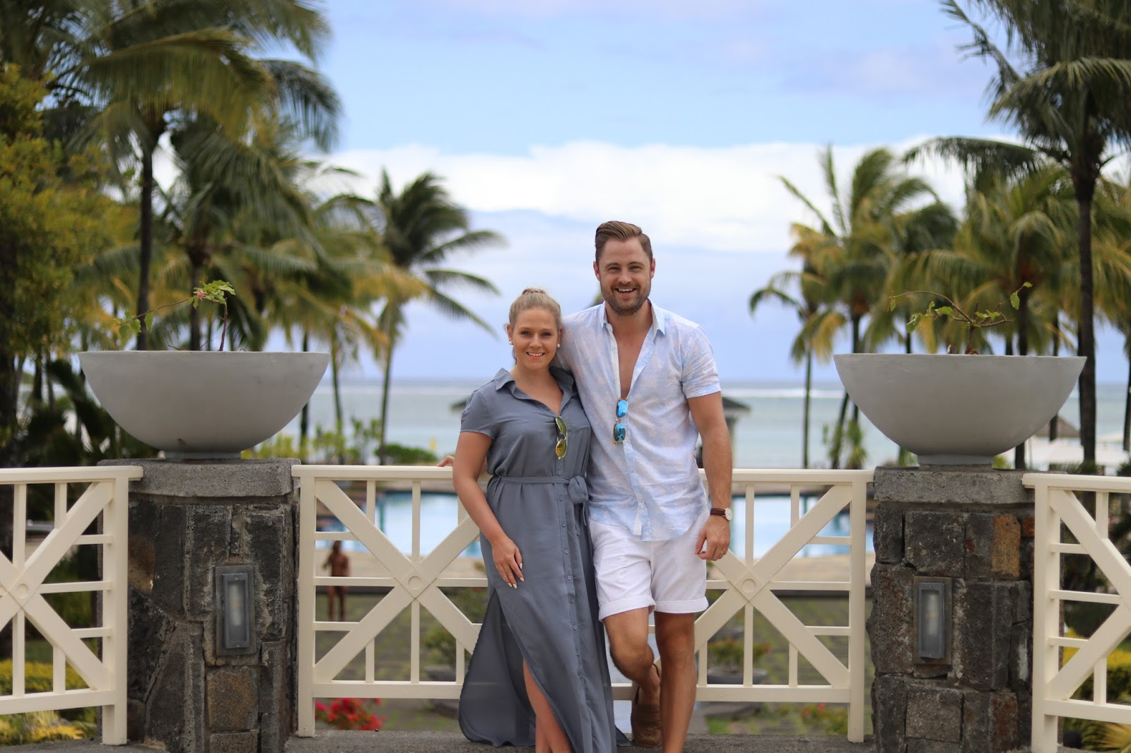 Katie Heath wearing a Boohoo dress and Ben Heath at the Heritage Le Telfair Hotel, Mauritius