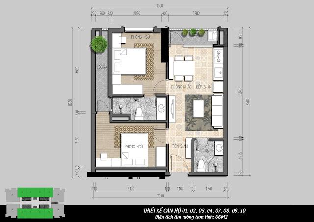 Thiết kế căn hộ 66m2 tòa I4