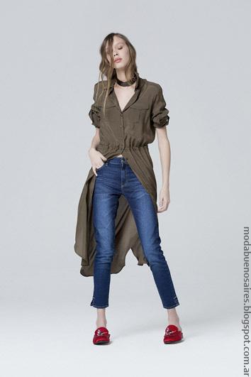 Moda jeans verano 2017 ropa de mujer maxicamisas verano 2017.