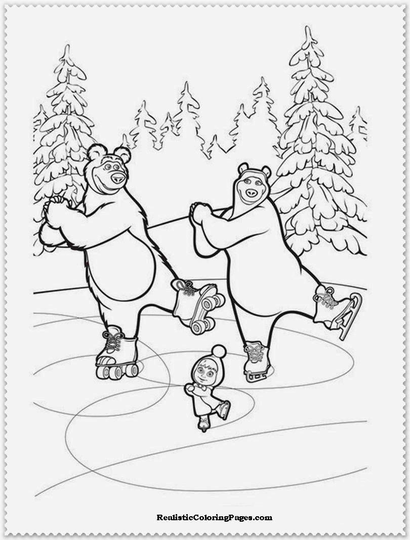 masha and the bear coloring pages for kids