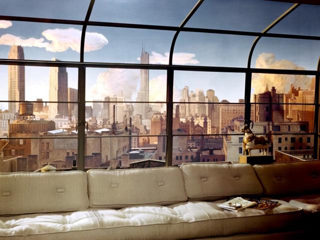 El ciclorama que se ve a través de las ventanas en La soga.