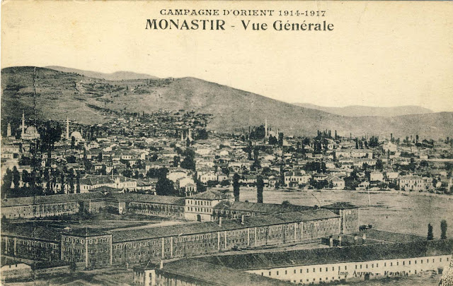 Panorama of Bitola from Tumbe Cafe in 1917, overlooking the Red and part of White barrack.