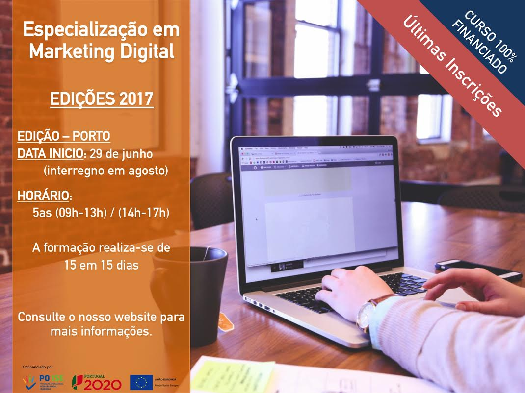 Curso de Especialização em Marketing Digital no Porto (100% financiado)