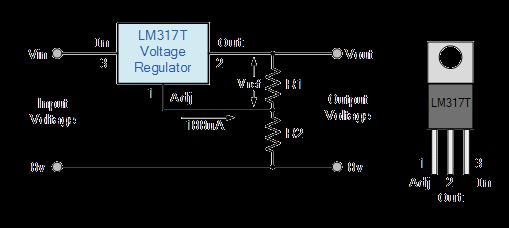 الدائرة الاساسية لمنظم الجهد LM 317